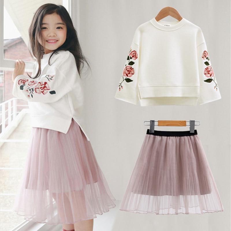 New Autumn Girls Dress T-shirt+Chiffon Dress 2Pcs Embroidery Flower Children Clothing Fashion Princess Kids Dresses For Girls symmetric flower embroidery t shirt