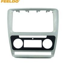 FEELDO 1 PC Silver Car Radio Stereo 2DIN Fascia Panel Ripara La Struttura del Facia Trim Installare Kit di Montaggio Per Skoda Octavia (10 ~ 13)