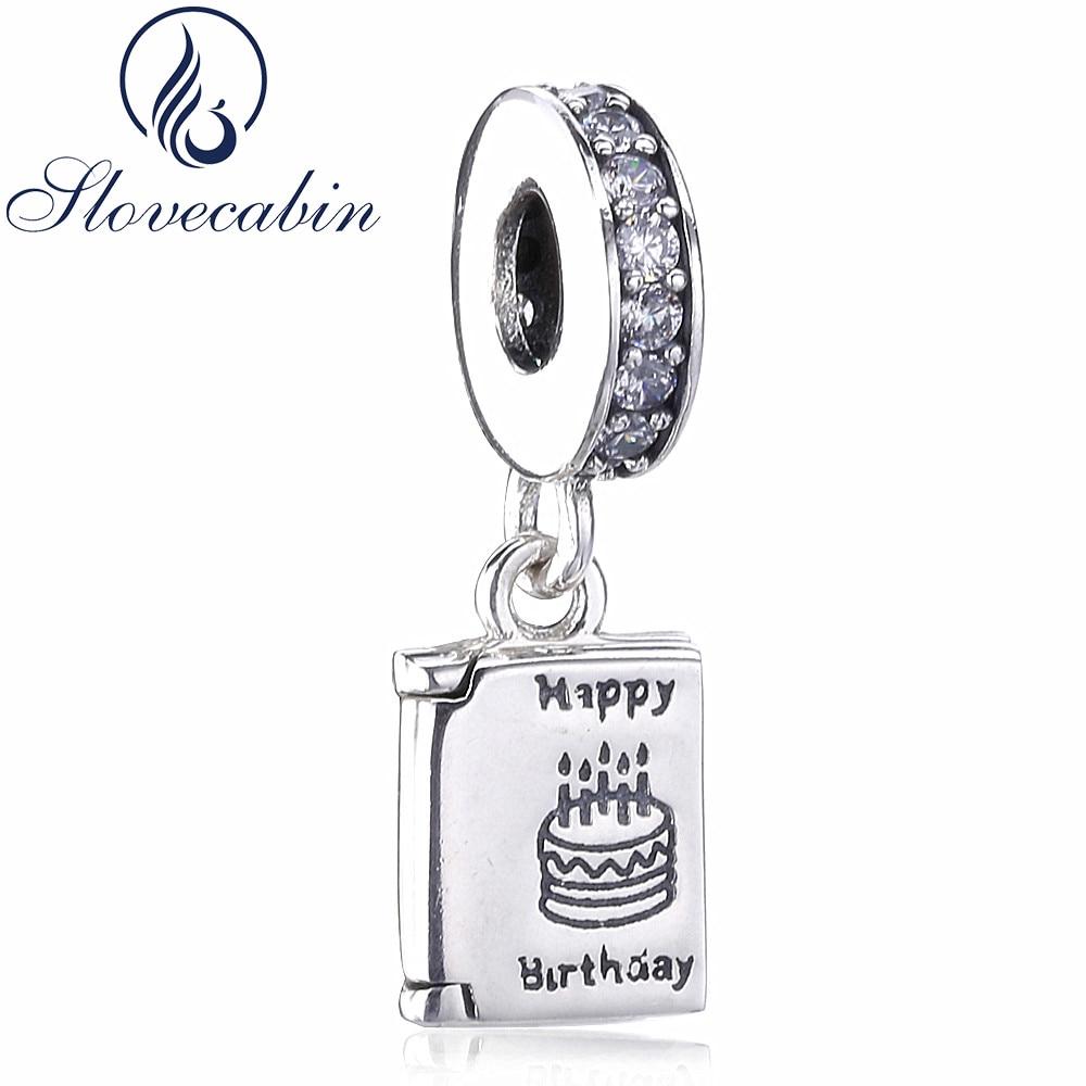 Slovecabin Original 925 Sterling Silver Birthday Card Dangle Charms Pendant Fit Bead Bracelet Diy Silver 925 Beads For Women charm pendant dangle charms diy silver - title=