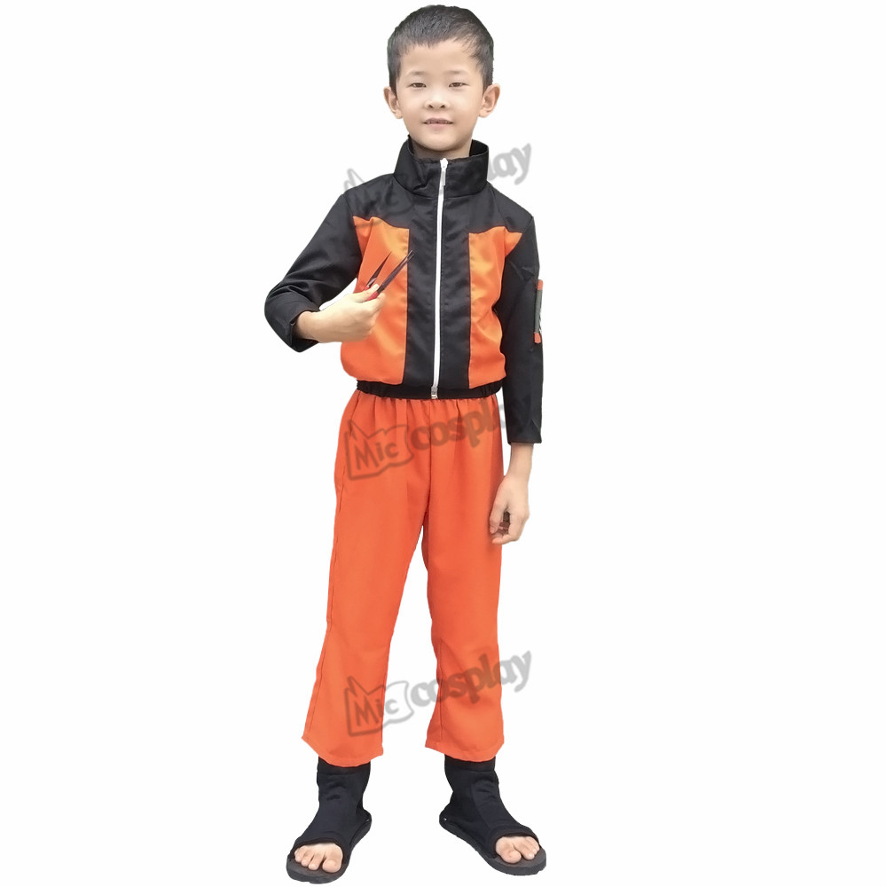Anime Naruto Uzumaki Kids Cosplay Costume Halloween Party Clothing