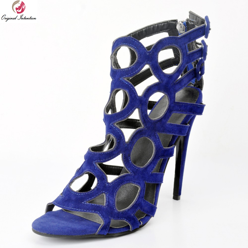 Original Intention Women Sandals Sexy Cut Outs Open Toe Thin Heels Sandals High-quality Blue Shoes Woman Plus US Size 4-15 2016 retro cut outs design women summer boots open toe sandals plus size 41 42 43 44 45 thin heels summer shoes free shipping