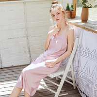 Elegant Solid Spaghetti Strap Nightdress Sexy Women Backless Night Dress Summer Sleeveless Sleepwear Long Simple Home Clothes