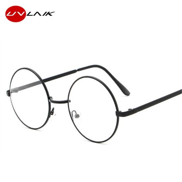 43cd68795 UVLAIK جولة إطارات النظارات واضح زجاج عدسة هاري بوتر نظارات الإطار المعدني  النساء الرجال قصر النظر
