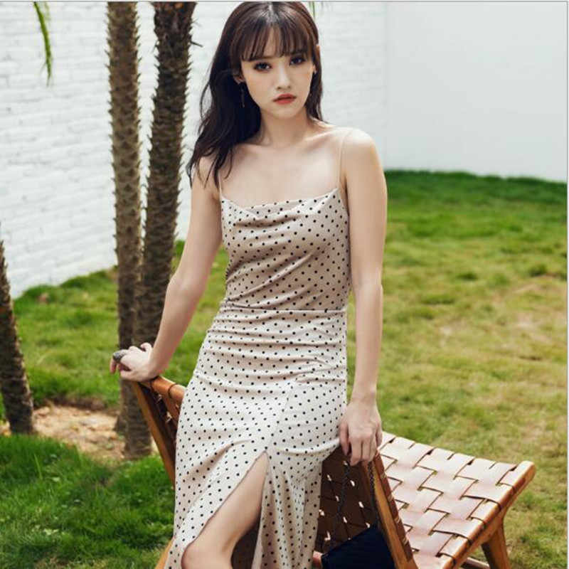 Summer new dress thin sling Slim split polka dot dress long paragraph ladies bag hip backless fashion dress