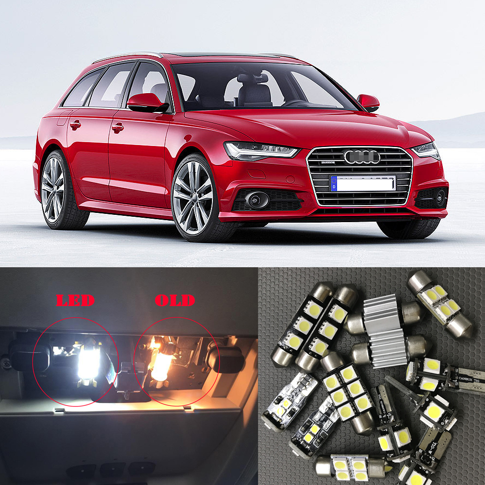 12pc Car White LED Light Bulbs Interior Package Kit For 2012 2013 2014 Audi A6 C7 Dome Glove Box Trunk License Plate Light Lamp