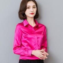c13f2d02 New Peacock Blue Satin Shirt Women Long Sleeve Silk Blouses Women Work Wear  Uniform Office Shirt