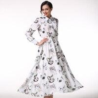 Jakość damska Maxi Sukienka W Stylu Vintage Robe Longue Femme Jupiter Animaux Zwierząt Kot Drukuj Z Długim Rękawem Sukienka Szyfonowa Sukienka biały