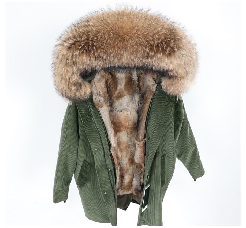 Naturalne królik futrzana parka na podszewce płaszcz kobiety kurtka zimowa naturalne raccoon parki z futrzanym kołnierzem