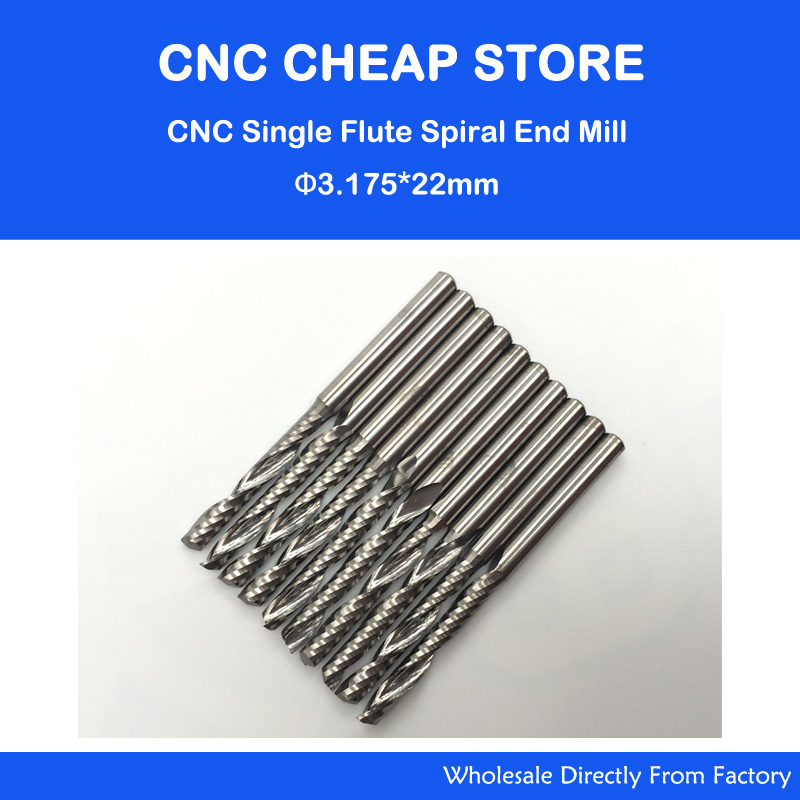 Promotion 10pcs/lot 1/8 High Quality Cnc Bits Single Flute Spiral Router Carbide End Mill Cutter Tools 3.175 x22mm OVL 45MM free shipping 5pcs lot new 4mm hq carbide cnc router bits double flute aluminum cutting tools 3mm 8mm