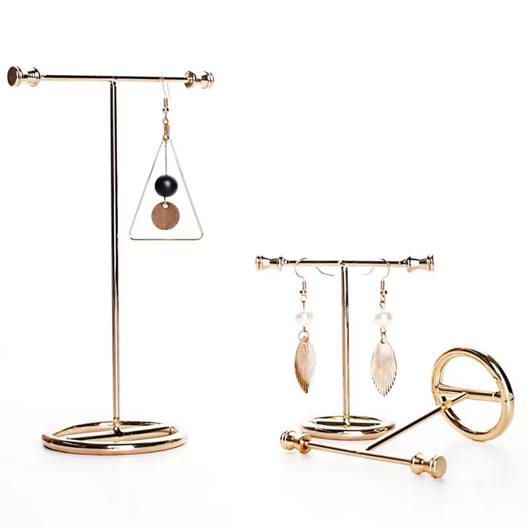 Exquisite Showcase Golden Earring Display Stand Necklace Jewelry Rack Organizer