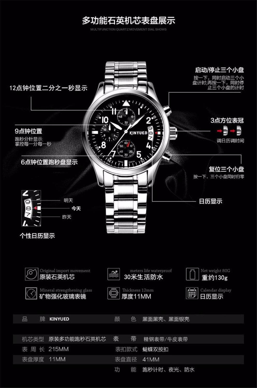 Marca de lujo KINYUED Relojes para hombres, Multifuncional Movimiento - Relojes para hombres - foto 6