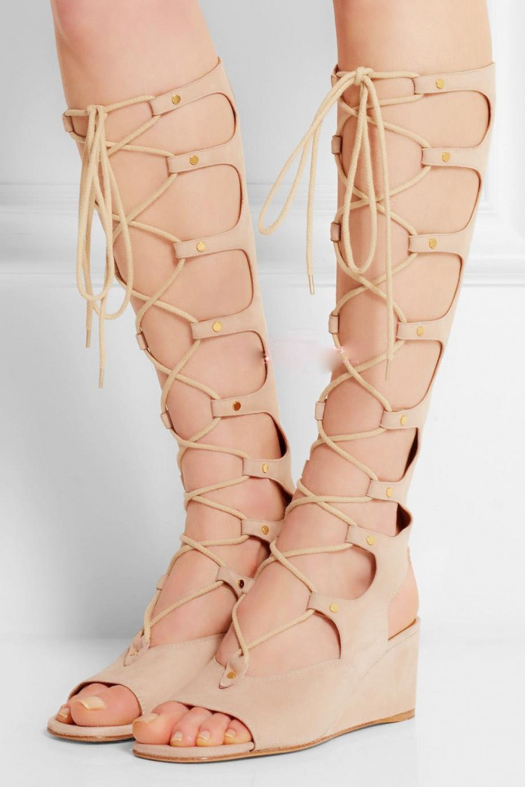 crazy price good texture first rate summer women sandals 2015 knee high gladiator sandals rome ...