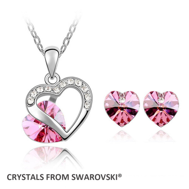 Us 6 59 24 Off Super 2017 Hot Clic Heart Necklace Earrings Jewelry Set Crystals From Swarovski For Christmas Gift In Sets