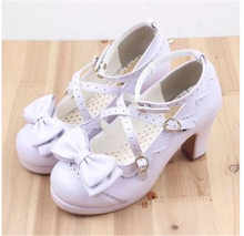 2019 Popular Lolita shoes Sweet Princess Girls Bowtie Straps Chunky Round Toe Japanese Single Shoes High Heel