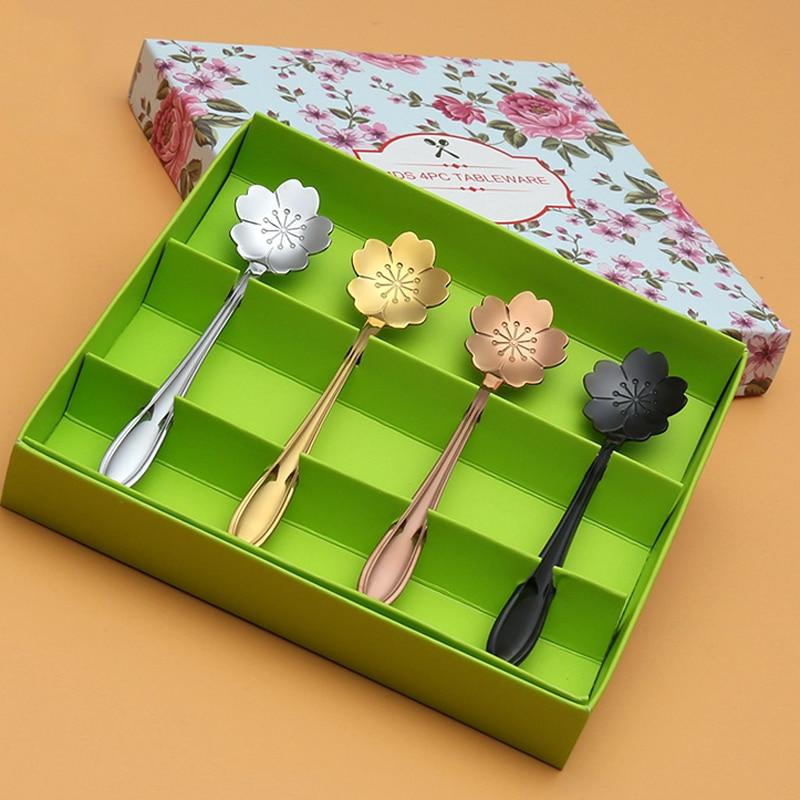 4pcs cuillères à thé en acier inoxydable ensemble assorties couleurs Sakura fleur cuillères à café mini cuillère à crème glacée accessoires de thé fantaisie cadeau