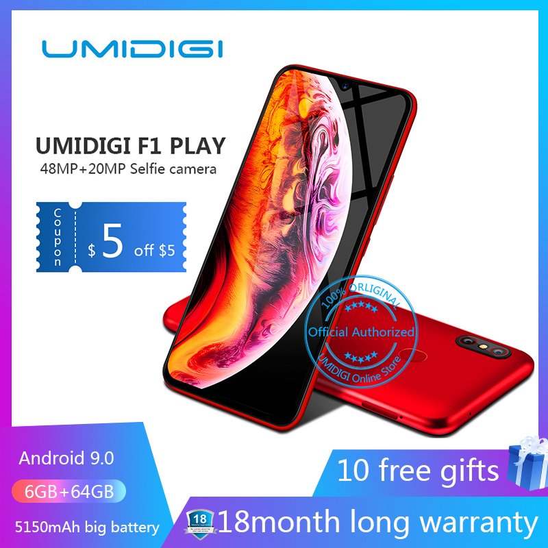 UMIDIGI F1 Play Android 9.0 48MP+8MP+16MP Cameras 5150mAh 6GB RAM 64GB ROM 6.3″ FHD octa core Smartphone unlocked 4g mobile phon-in Cellphones from Cellphones & Telecommunications on Aliexpress.com | Alibaba Group