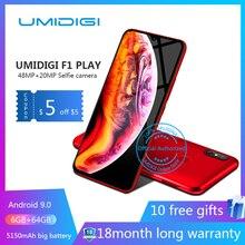 UMIDIGI F1 играть Android 9,0 48MP + 8MP + 16MP камеры 5150 mAh 6 ГБ Оперативная память 64 Гб Встроенная память 6,3 «FHD восьмиядерный смартфон разблокирована 4g Мобильный фононов Двойная камера беспроводная зарядка