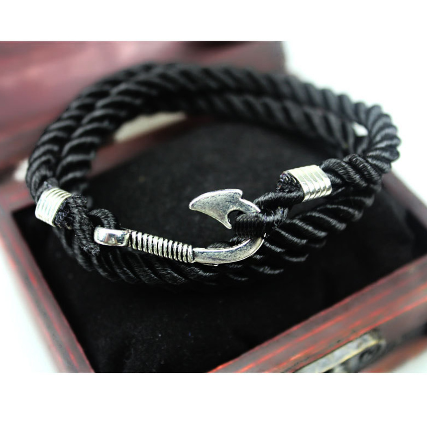 2017 Handmade Multilayer Rope Miansai Silver Fish Hook Bracelet Men Navy Wrap Bracelets Homme Pulseira Masculina Jewelry In From
