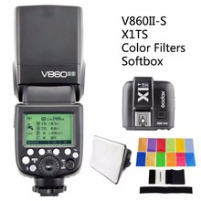 Godox Ving V860II V860II-S  + Transmitter X1TS Speedlite  Flash Fast HSS For Sony A7 A7S A7R with softbox and Color Filters