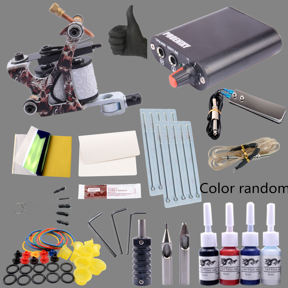 Tattoo Kit 4 Colors Tattoo Ink Sets Machines Set Black Power Supply Needles Permanent Make Up Professional Tattoo Kit Set professional tattoo kits liner and shader machines immortal ink needles sets power supply