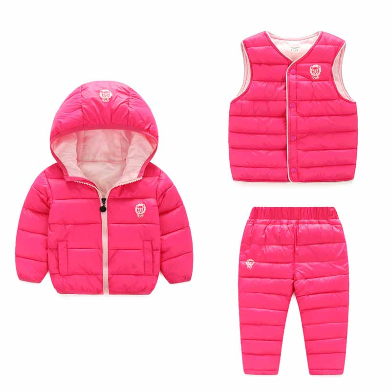 BibiCola baby Girls down parkas clothing sets winter hooded Jackets Boys Outerwear Boys clothes sets 3 pcs coat+vest+pants цена 2017