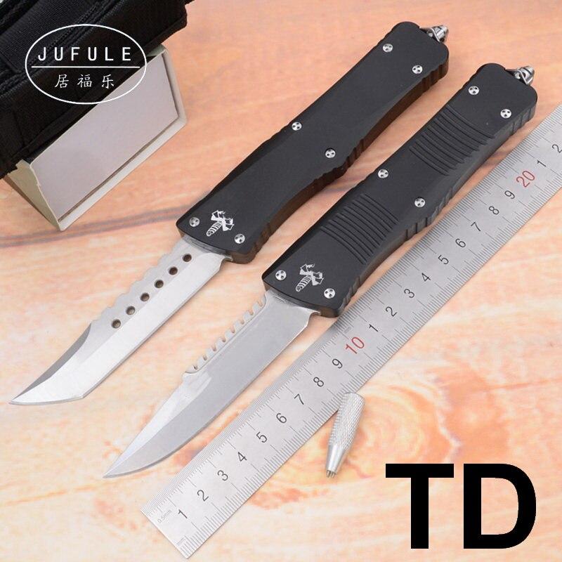 JUFULE bon prix TD D2 lame en aluminium poignée camping chasse survie utilitaire extérieur EDC outil fruit cuisine couteau