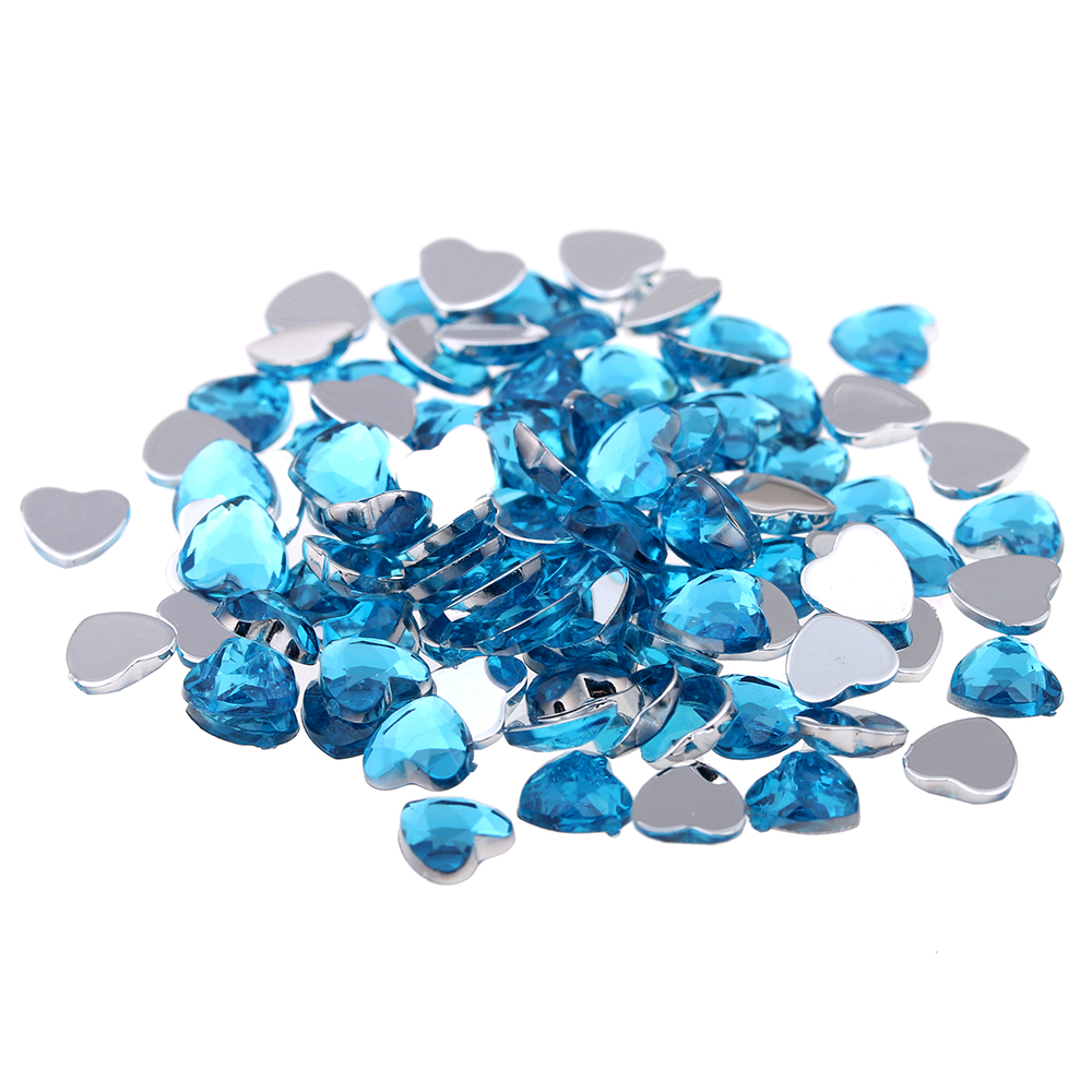 6mm 10000pcs Heart Shape Flat Facets Flatback Normal colors Acrylic Rhinestone Gems Shiny Strass Nail Art
