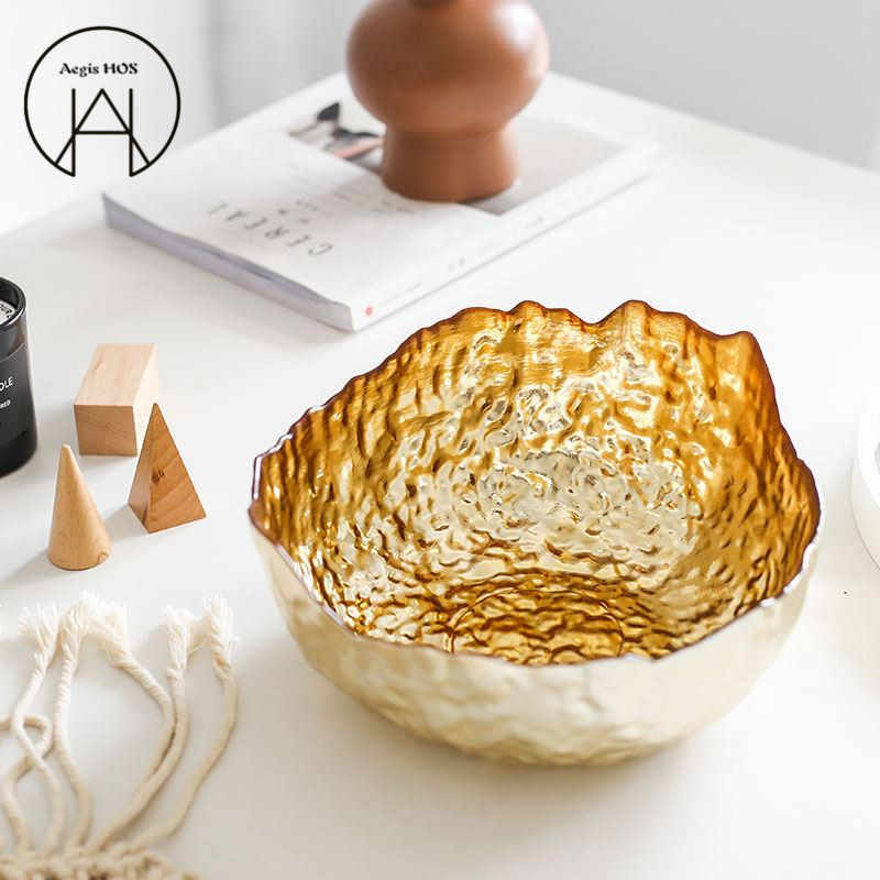 Light Luxury Gold Plated Glass Bowls Western Large Salad Bowl Fruit Plate Living Room Set Table Decoration Storage Container Bowls Aliexpress