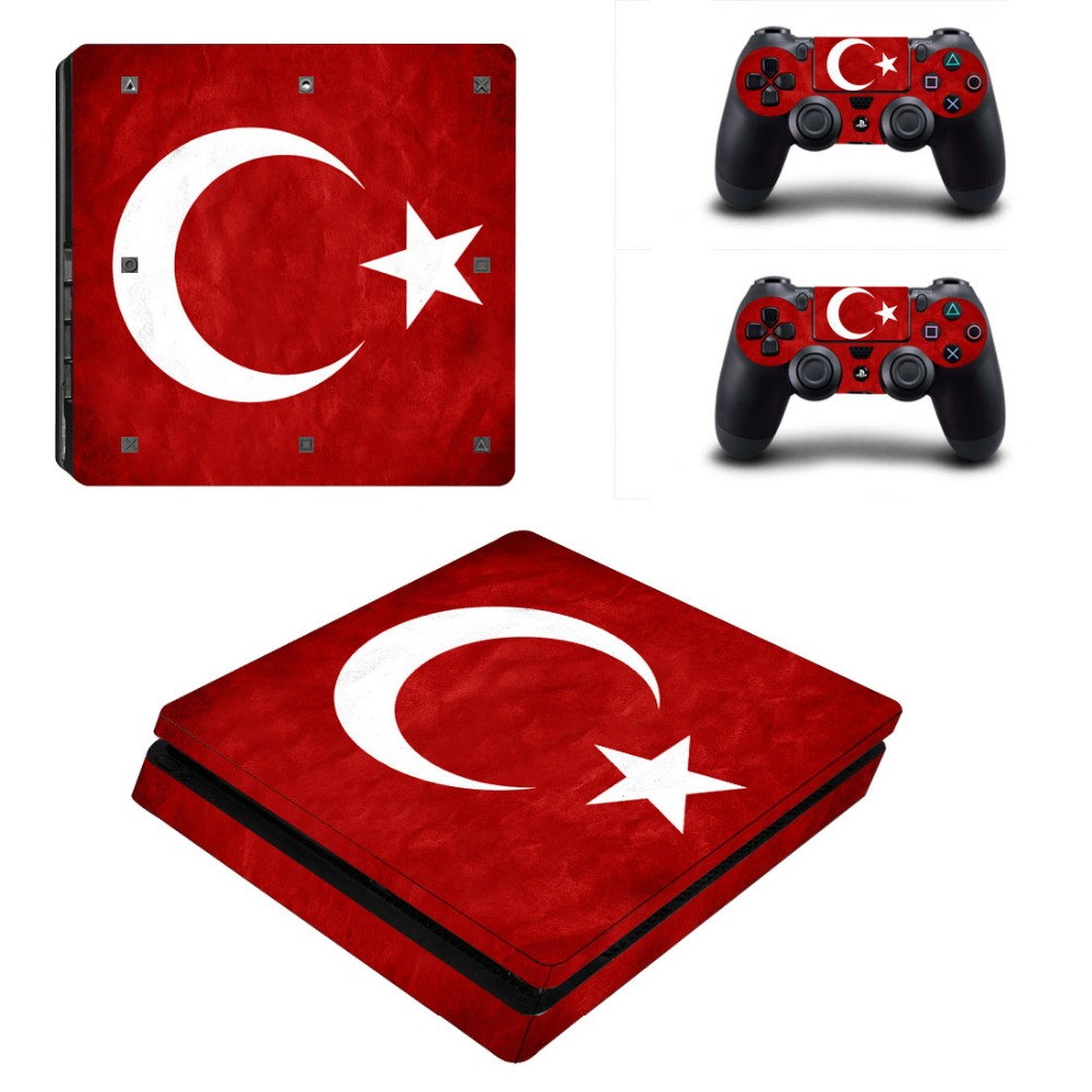 Turkey Flag Style Vinyl Decal Skin for PS4 Slim + 2PCS Controller Protective Skins Decals For Sony Playstation 4 Slim Accessory