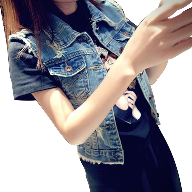 Women Fashion Explicit Short Simple Frayed Jeans Vest Waistcoat Denim Skirt Sleeveless