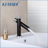Kemaidi bacia pia do banheiro nova cachoeira chrome único punho deck montado navio vanity misturador de água quente e fria torneira|deck mounted|tap faucet|water mixer tap -