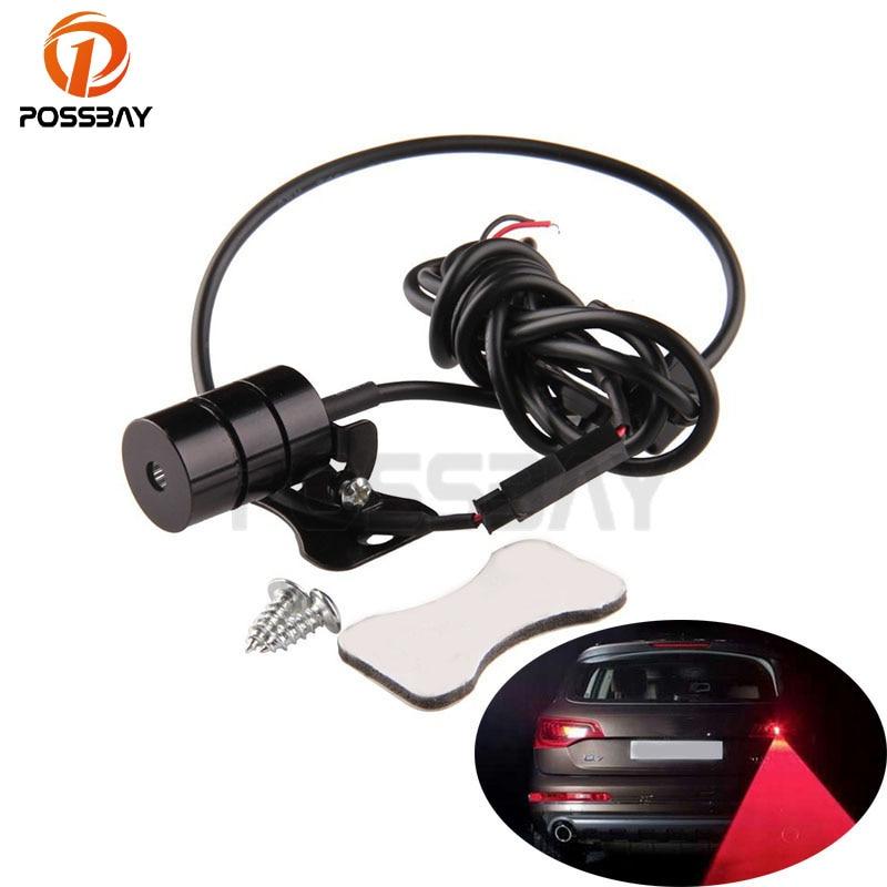 POSSBAY Car Red Laser Fog Rear Anti-Collision Safety Taillight Warning Signal Light Lamp