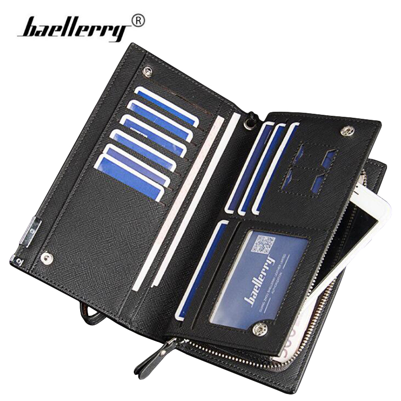 Baellerry Leather Wallet Men Clutch Bags with SIM Card Holder Male Coin Purse Man Phone Wallet Long Men's Business Handy Wallets fd bolo brand wallet men leather wallets aligator handy bags coin purse monederos carteras hombre mens wallets man clutch bags