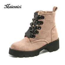MAIERNISI Women Winter Shoes All-match Lace-up Fashion Boots Motocycle For Ladies Ankle Neutral Style Brand shoes