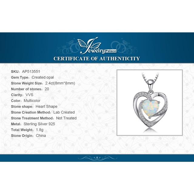 Created Opal Love Heart Pendant