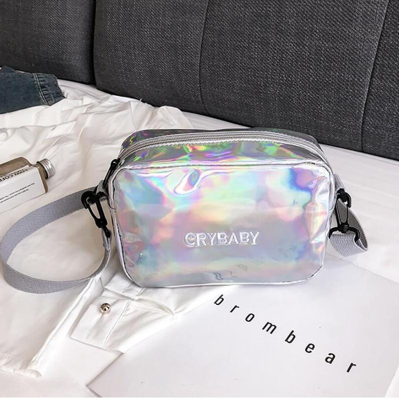 HTB1OQK8bB1D3KVjSZFyq6zuFpXaP Yogodlns 2019 Holographic Laser Backpack Embroidered Crybaby Letter Hologram Backpack set School Bag +shoulder bag +penbag 3pcs