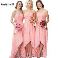 Custom Made High Low Bridesmaid Dress Chiffon Short Front Long Back Dress for Wedding Party Cheap Wedding Guest Dress