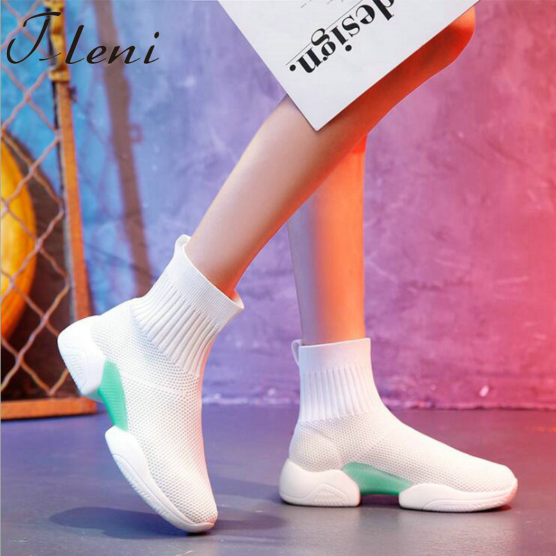 Tleni 2018 Woman Casual Shoes Flat Platform Heels Black white sock shoes High top Gym Shoes Trainers Breathable Sneakers ZX-95Tleni 2018 Woman Casual Shoes Flat Platform Heels Black white sock shoes High top Gym Shoes Trainers Breathable Sneakers ZX-95
