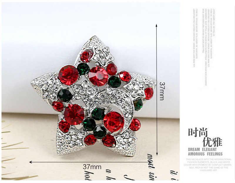 Cindy Xiang Elegan Berlian Imitasi Bintang Bros untuk Wanita Natal Vintage Pin Pesta Perhiasan Mantel Sweter Aksesoris dan