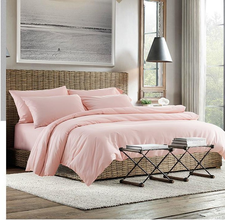 2015 100 Egyptian cotton light pink bedding set sheets king queen