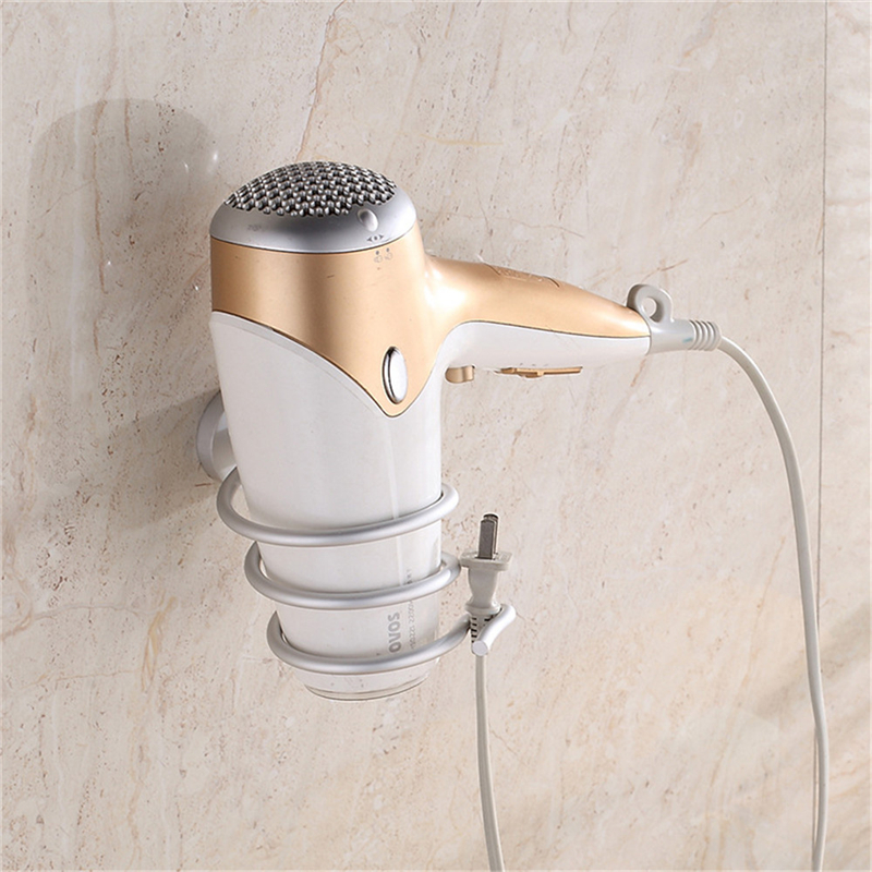 High Quality Wall-mounted Hair Dryer Holder Space Aluminum Bathroom Washingroom Shelf Storage Hairdryer Holder For Hairdryer