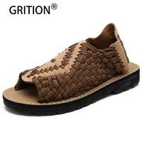 GRITION 패션 남성 야외 샌들 통기성 여름 신발 게으른 신발 중국 스타일의 산책 비치 샌들