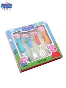 Fork Spoon-Set Tableware Model-Grip Dining-Spoon Birthday-Gifts Peppa Pig Kids Children