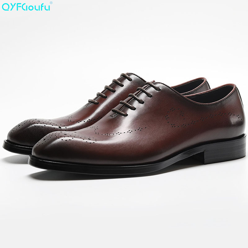 New Genuine Cow Leather Vintage Shoes Men Fashion Square Toe Dress Shoes Oxfords Black Red Wine Lace up Official Shoes in Formal Shoes from Shoes