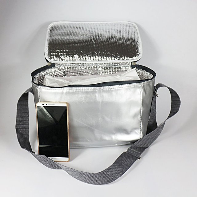 PU leather high quality silver lunch cooler bag insulated food storage bag thermal picnic cooler bag