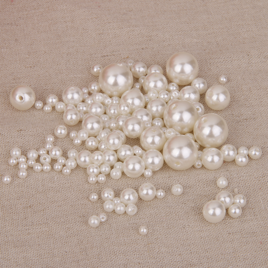 150Pcs Assorted Size Round Resin Faux Pearl Bead Sewing Bag/Cloth Decoration