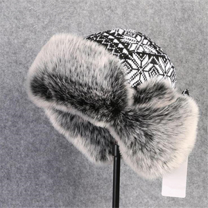 Image 4 - BUTTERMERE Russian Fur Hat Ushanka Black White Bomber Hats Male Female Ear Flaps Winter Thick Warm Knitting Outdoor Trapper Hat