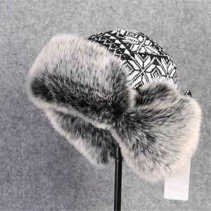 Image 4 - BUTTERMERE רוסית פרווה כובע Ushanka שחור לבן כובעי מפציץ זכר נקבה אוזני כלב חורף עבה חם סריגה חיצוני הצייד כובע