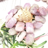 Lii Ji Natural Kunzite Irregular Facted Shape Stone Loose Beads About 13-15x22mm for DIY Jewelry Making about 39cm 4