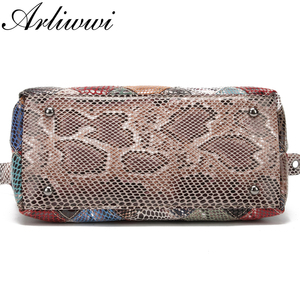 Image 5 - Arliwwi Brand Designer Women Genuine Leather Handbags Handmade Patchwork Female Real Leather Colorful Bags New Fashion GB08